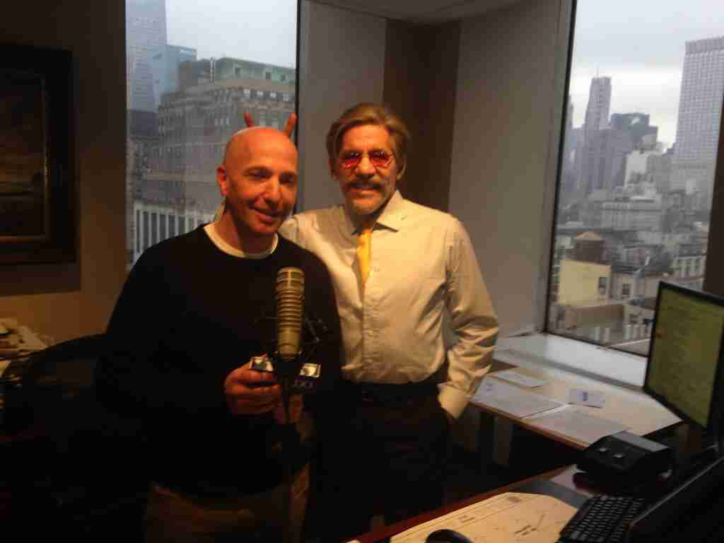 Geraldo with sidekick Noam Laden in the 77 WABC radio studio high above Madison Square Garden, New York City.