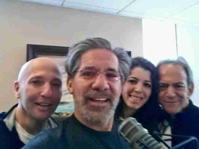 Geraldo with the 77 WABC radio crew, left to right, sidekick Noam Laden, producer Mary Elkordy, producer Martin Berman, circa 2014.