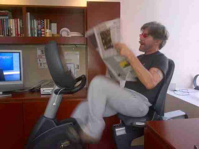 Geraldo on the exercise bike in his 77 WABC radio studio high above Madison Square Garden, New York City.  Circa 2014.