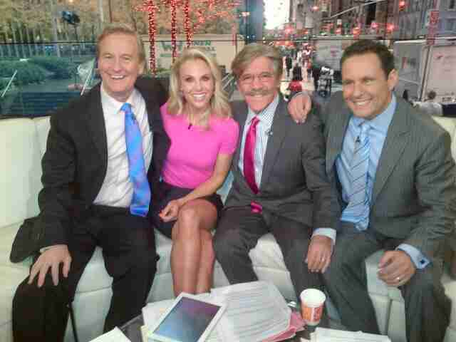Geraldo on the set of Fox And Friends after a great segment with hosts Steve Doocy, Elisabeth Hasselbeck and Brian Kilmeade.
