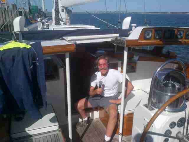 Geraldo on board sailing vessel Voyager broadcasting his 77 WABC radio show live.  Circa 2014.