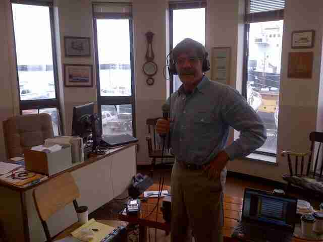 Geraldo broadcasting his 77 WABC radio show live from Maine Maritime Academy in Castine, Maine, during donation of sailing vessel Voyager.  Circa 2013.