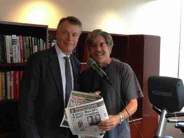 Geraldo with radio guest in his 77 WABC studio high above Madison Square Garden, New York City.