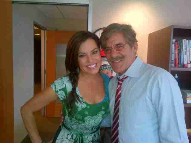 Fox News Channel co-worker Kimberly Guilfoyle pays Geraldo a visit in his 77 WABC radio studio, Penn Plaza New York City.