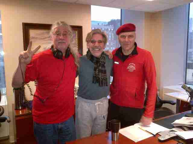 Geraldo with 77 WABC co-workers Curtis Sliwa and Ron Kuby, in studio high above Madison Square Garden, New York City.