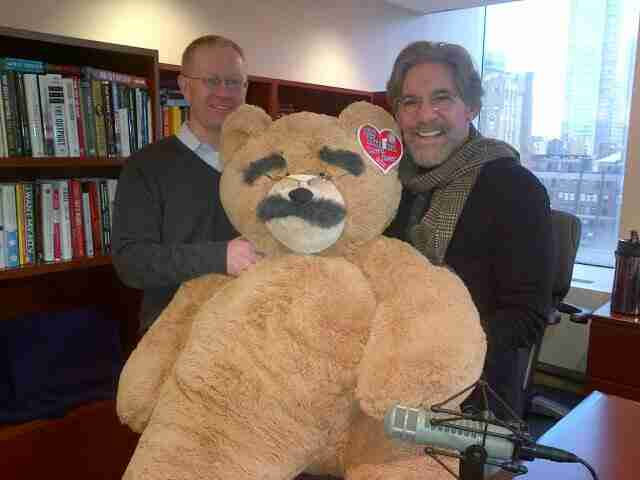 Geraldo with radio guest and the Geraldo Vermont Teddy Bear in 77 WABC radio studio high above Madison Square Garden, New York City.