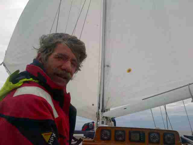 Geraldo on board sailing vessel Voyager, as she makes way.