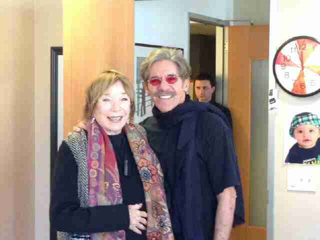 Geraldo poses with guest Shirley Maclaine during broadcast of his 77 WABC radio show in New York City.