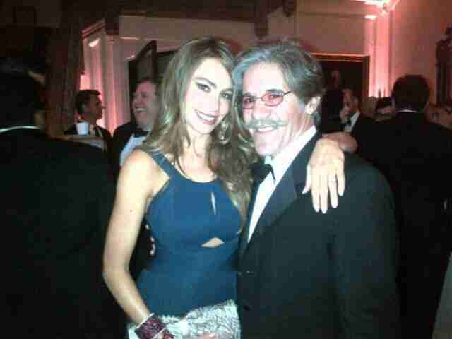Geraldo poses for a picture with his friend.
