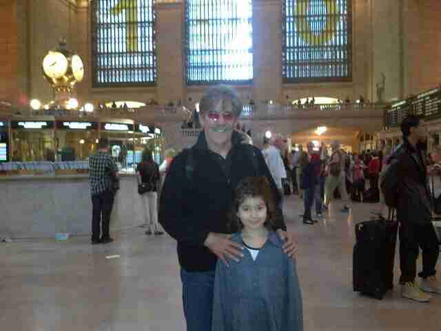 Geraldo and his youngest daughter Sol in Penn Station.
