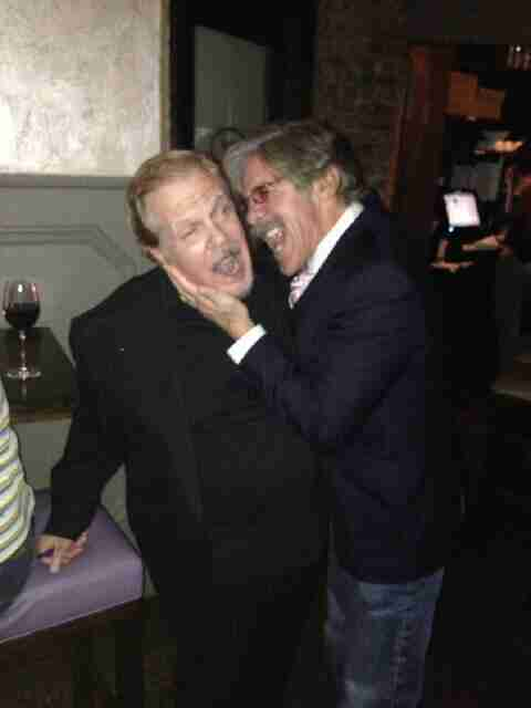 Geraldo with author Mike Walker celebrating the release of his book Out For Blood.