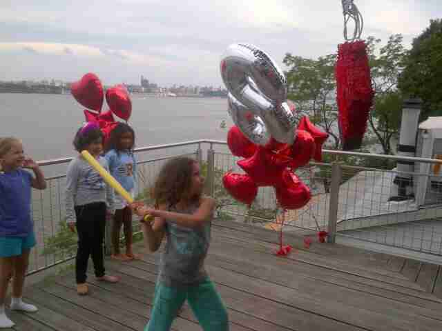 Friends of Geraldo's youngest daughter Sol have fun at her party in Edgewater, New Jersey.