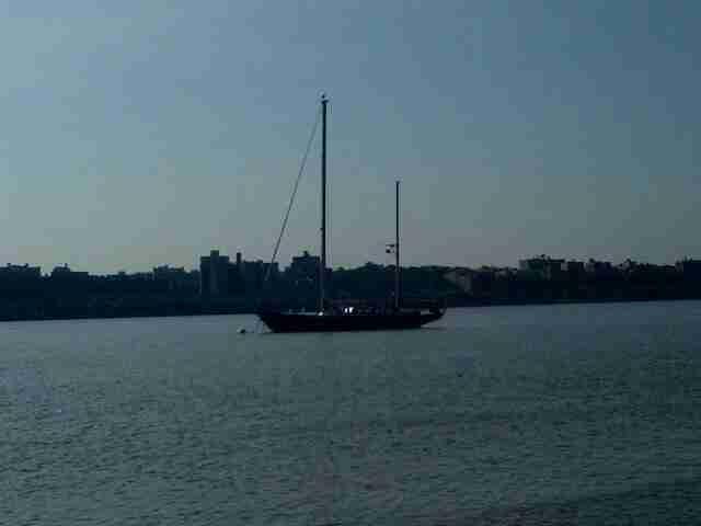 Sailing vessel Voyager on mooring in the Hudson River, New York City.