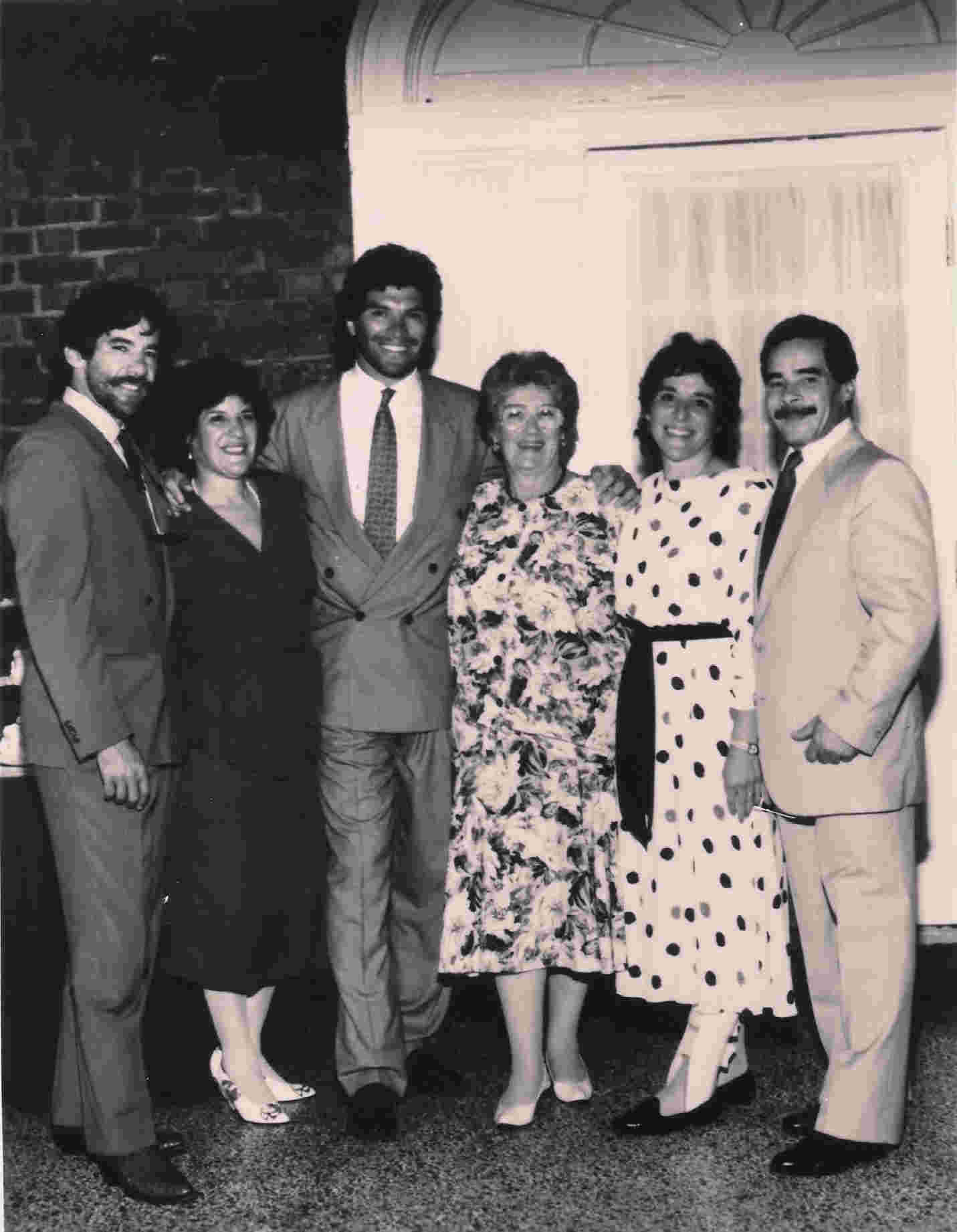 Vintage photo of, from left to right, Geraldo, sister Irene, brother Craig, mother Lillian, sister Sharon, and brother Wilfredo.  All of Geraldo's' brothers and sisters are present.