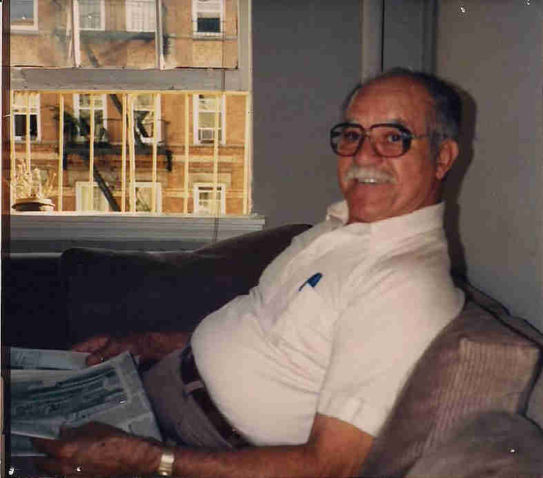 Geraldo's father, Cruz Allen Rivera, takes a moment on the couch in New York City.