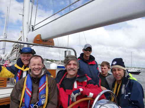 The crew of Voyager poses for a picture in the days leading up to the Marion Bermuda Race in 2013.  From left; Dr. Guillermo Gonzaelez, crew member Ross, Geraldo Rivera, Larry, Forrest, Greg.  Not pictured is Captain Kevin.