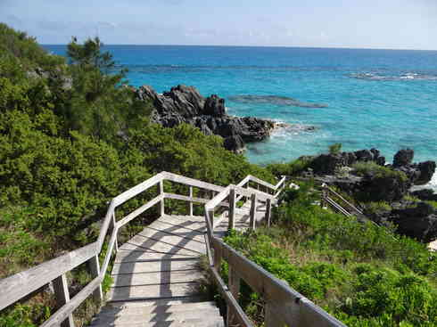 The walkway down to a Bermudian beach, after Voyager completed the Marion to Bermuda sailing race in 2013.