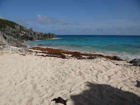 The Bermudian beach gets visited by Voyager crew, after the Marion To Bermuda sailing race in 2013.