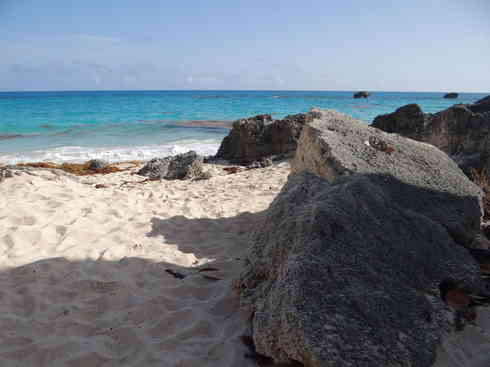 A Bermudian beach gets visited by Voyager crew, after the Marion to Bermuda sailing race in 2013.