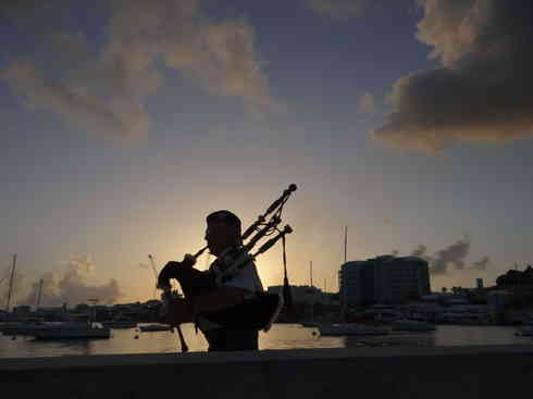 Bagpipes on the dock at Royal Hamilton Amateur Dinghy Club, Bermuda.  Taken by Voyager crew after completing the Marion to Bermuda sailing race in 2013.