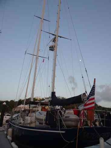The aft of Voyager after she arrived at the Royal Hamilton Amateur Dinghy Club.  Taken by crew after completing the Marion to Bermuda race in 2013.