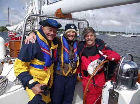 Crew members Dr. Guillermo, Ross and Geraldo prior to departing Marion Harbor.  Marion to Bermuda race, 2013.