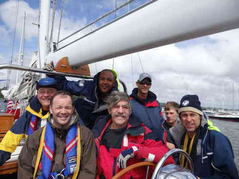 The crew of Voyager prior to departing Marion harbor for Marion to Bermuda sailing race, 2013.  From left; Dr. Guillermo, Ross, Kevin, Geraldo, Larry, Forrest, Greg.
