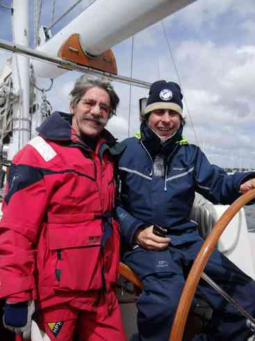 Geraldo and crew member Greg at the helm, prior to departing for the Marion to Bermuda sailing race, 2013.