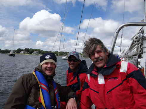Crew of Voyager prior to departing for the Marion To Bermuda sailing race, 2013.  From left is Ross, Larry, and Geraldo.