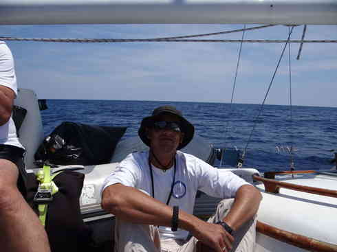 Larry takes a moment on the aft deck of Voyager.  Taken during the Marion to Bermuda sailing race, 2013.