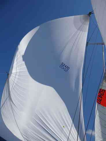 Watching the spinnaker fly on board Voyager.  Taken during the Marion to Bermuda sailing race in 2013.
