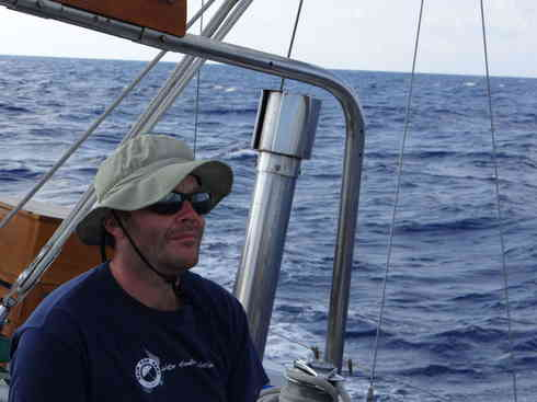 Voyager crew member Ross lost in thought during the Marion to Bermuda sailing race, 2013.