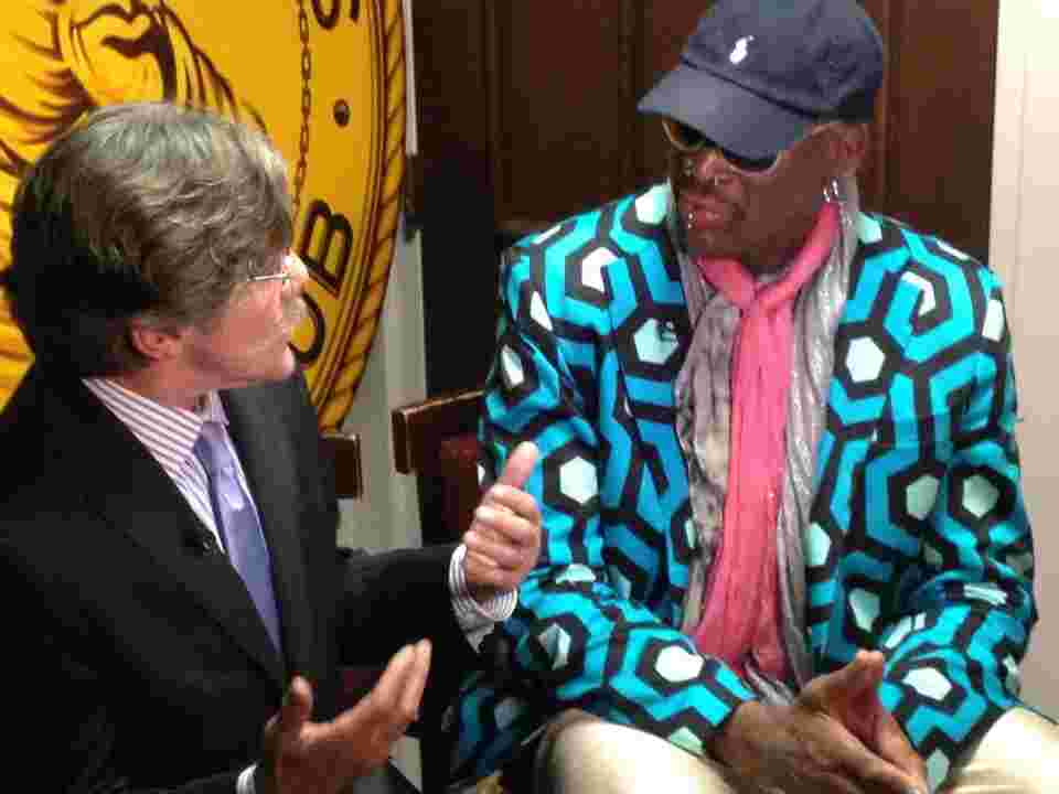 Geraldo in conversation with Dennis Rodman, 2014.