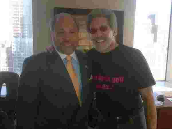 Geraldo in his WABC office with Fox News personality and NYC security figure Bo Dietl.