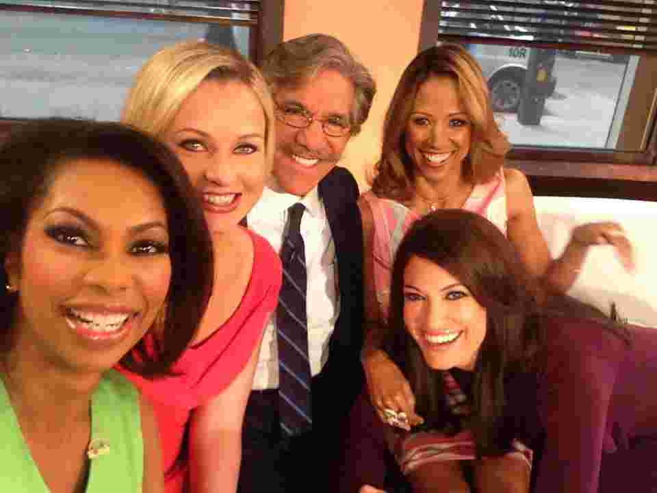 Geraldo with the cast of Fox News show Outnumbered, including Harris Faulkner and Kimberly Guilfoyle.