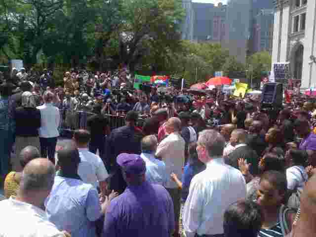 A rally in downtown NYC after unarmed young man Trayvon Martin was killed in Florida.