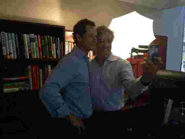 Geraldo with Anthony Weiner, following an interview on his WABC radio show.