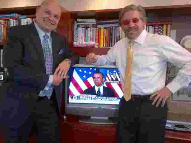 Geraldo, fellow attorney and friend Arthur Aidala with president Barack Obama appearing on screen