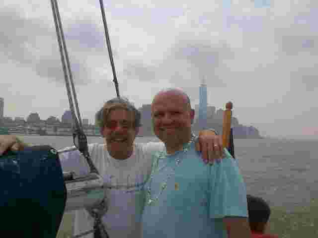 Geraldo on his sailboat Voyager going down the Hudson River with attorney Arthur Aidala.