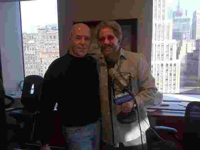 Geraldo in his 77 WABC radio studio for an interview with former police commissioner Bernard Kerik.