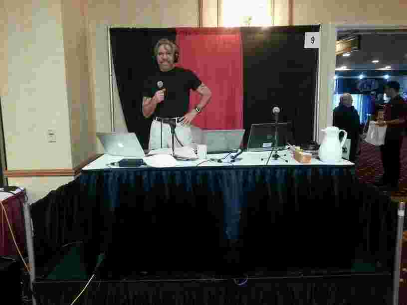 Geraldo broadcasting live at a 77 WABC sponsored jobs fair in Buffalo, New York.