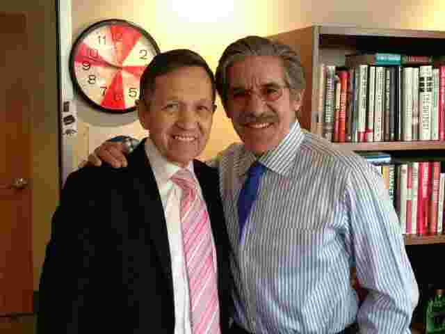 Geraldo in his 77 WABC radio studio with former representative Dennis Kucinich, of Ohio.