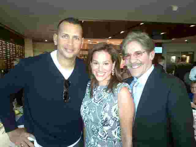 Geraldo and his wife Erica Rivera take a moment with Anthony Rodriguez, aka A-Rod