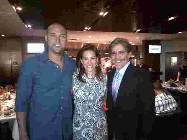 Geraldo, wife Erica take a moment with Derek Jeter from the New York Yankees