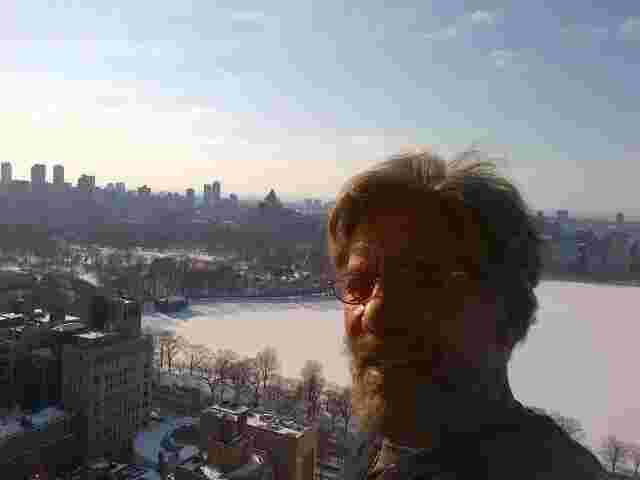 Geraldo over the frozen Central Park reservoir in Manhattan.
