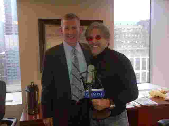 Geraldo in his 77 WABC radio studio conducting an interview with General Stanley McChrystal.