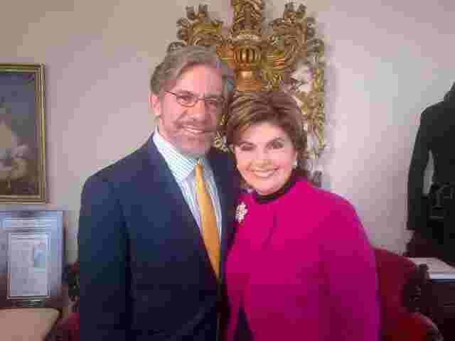 Geraldo with fellow attorney Gloria Allred, during taping for a Fox News special.