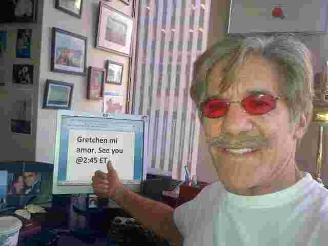 Geraldo in his 77 WABC radio studio, prepares to appear on The Real Story, a Fox News Channel show hosted by Gretchen Carlson.