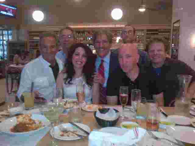 Geraldo with sidekick Noam Laden, Producers Marty Berman and Mary Elkordy, and the radio team out for lunch.