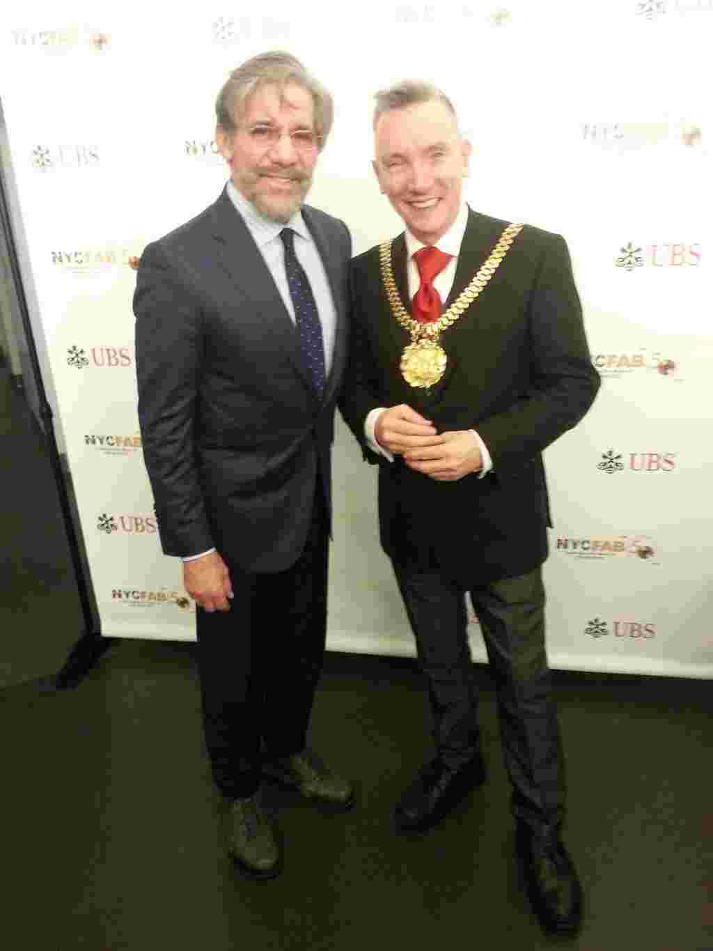Geraldo with Mayor Gary Millar during an event in NYC.